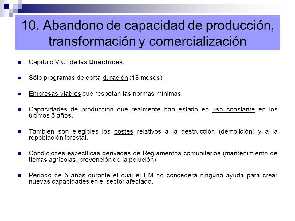 10. Abandono de capacidad de producción, transformación y comercialización