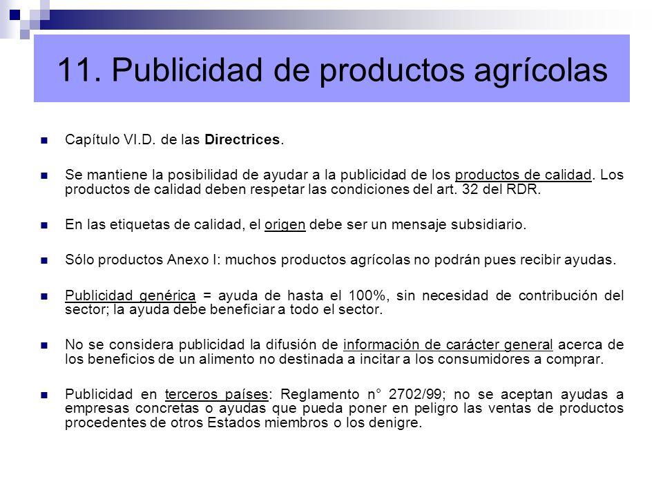 11. Publicidad de productos agrícolas