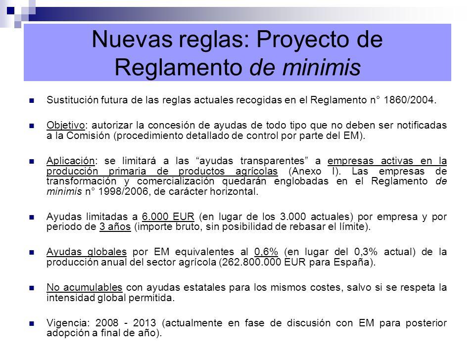 Nuevas reglas: Proyecto de Reglamento de minimis