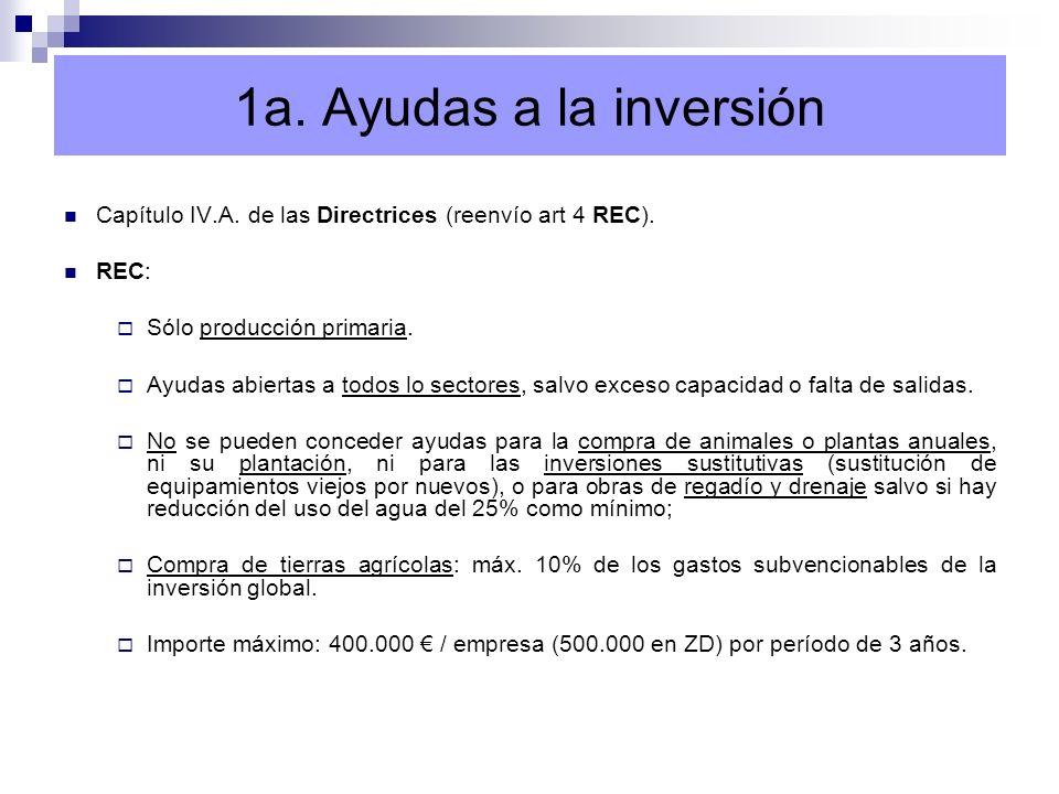 1a. Ayudas a la inversión Capítulo IV.A. de las Directrices (reenvío art 4 REC). REC: Sólo producción primaria.