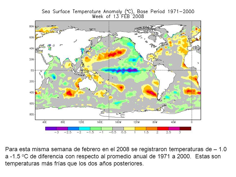 Para esta misma semana de febrero en el 2008 se registraron temperaturas de – 1.0 a -1.5 oC de diferencia con respecto al promedio anual de 1971 a 2000.