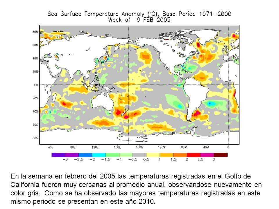 En la semana en febrero del 2005 las temperaturas registradas en el Golfo de California fueron muy cercanas al promedio anual, observándose nuevamente en color gris.