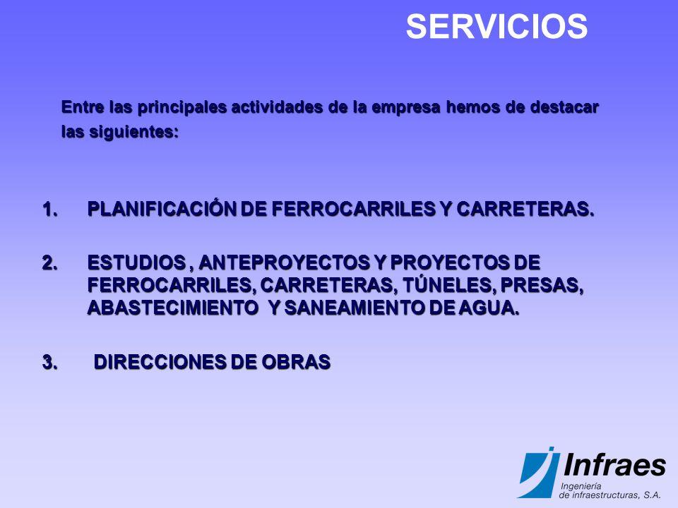 SERVICIOS PLANIFICACIÓN DE FERROCARRILES Y CARRETERAS.