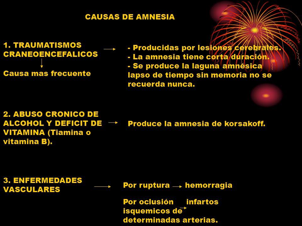 CAUSAS DE AMNESIA 1. TRAUMATISMOS CRANEOENCEFALICOS.