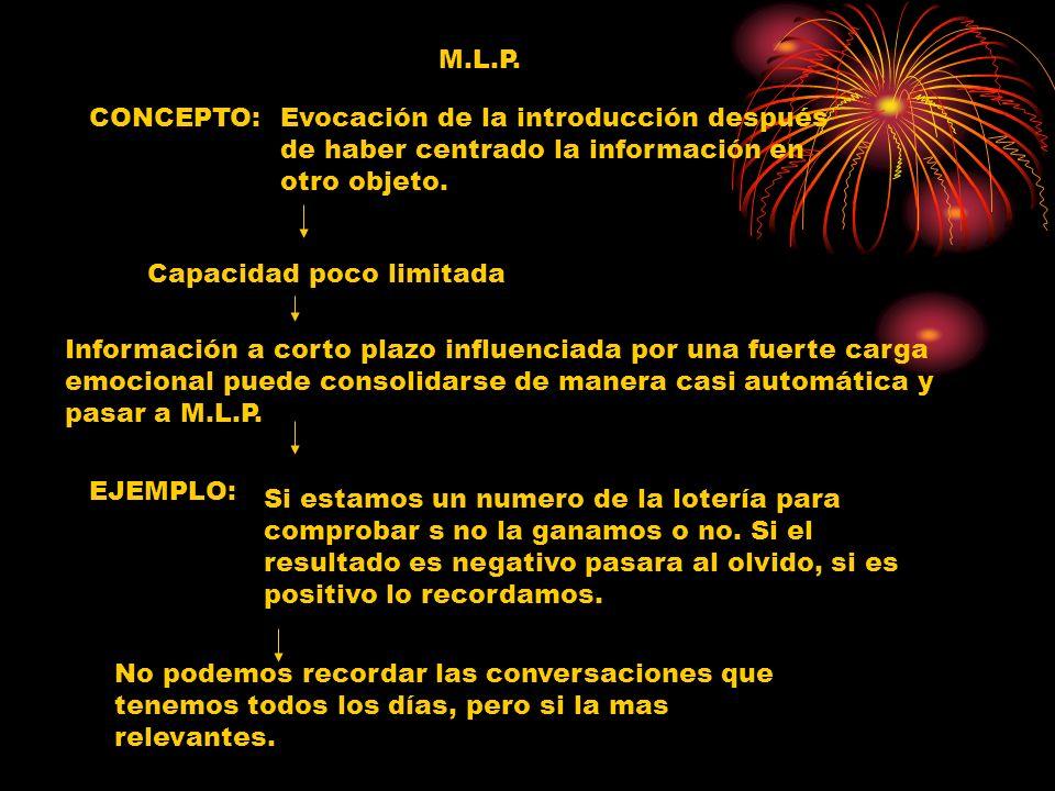 M.L.P. CONCEPTO: Evocación de la introducción después de haber centrado la información en otro objeto.