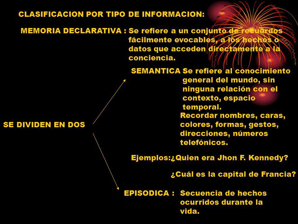 CLASIFICACION POR TIPO DE INFORMACION: