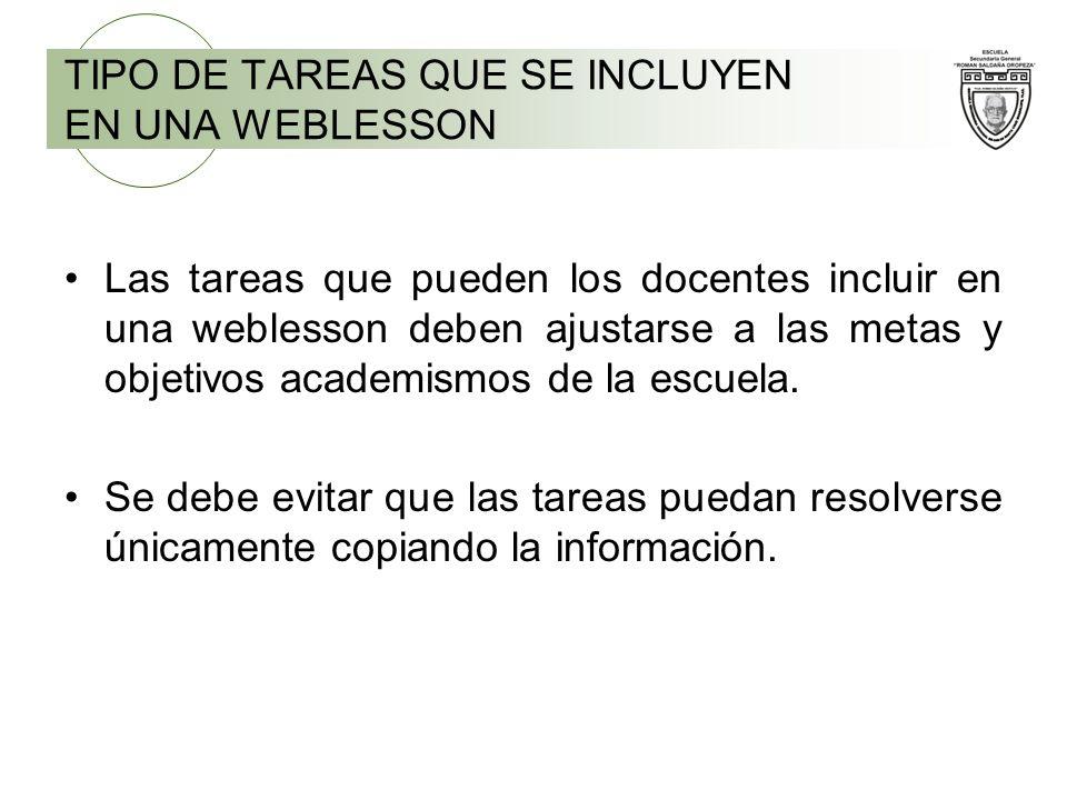 TIPO DE TAREAS QUE SE INCLUYEN EN UNA WEBLESSON