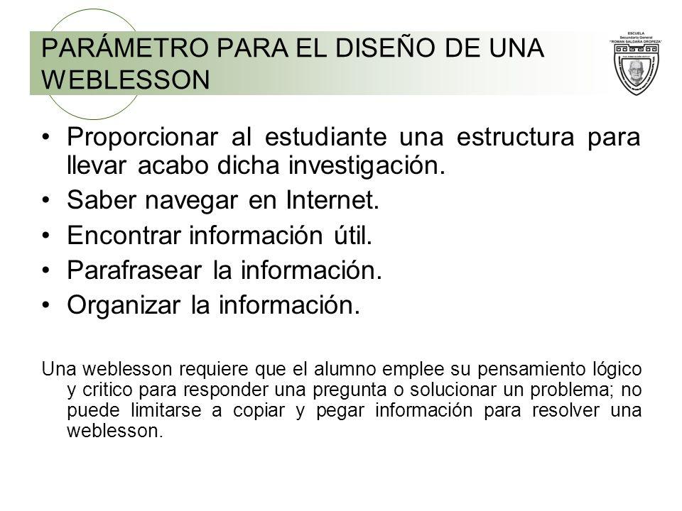 PARÁMETRO PARA EL DISEÑO DE UNA WEBLESSON