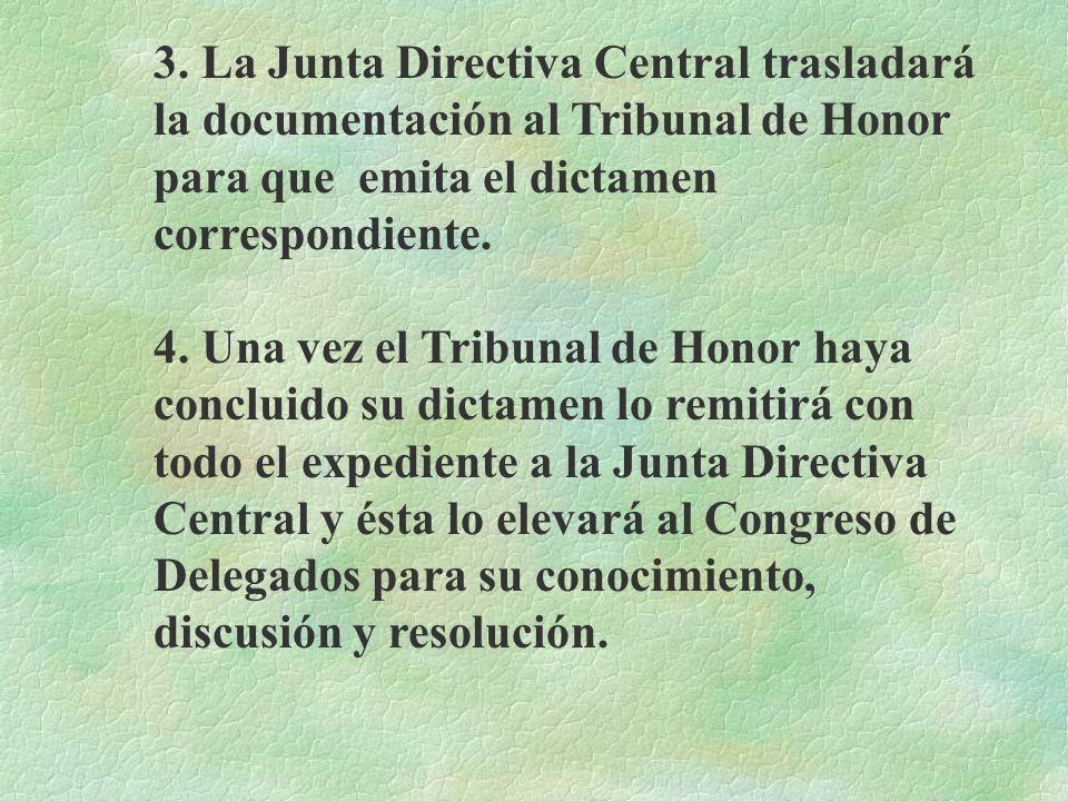 3. La Junta Directiva Central trasladará la documentación al Tribunal de Honor para que emita el dictamen correspondiente.
