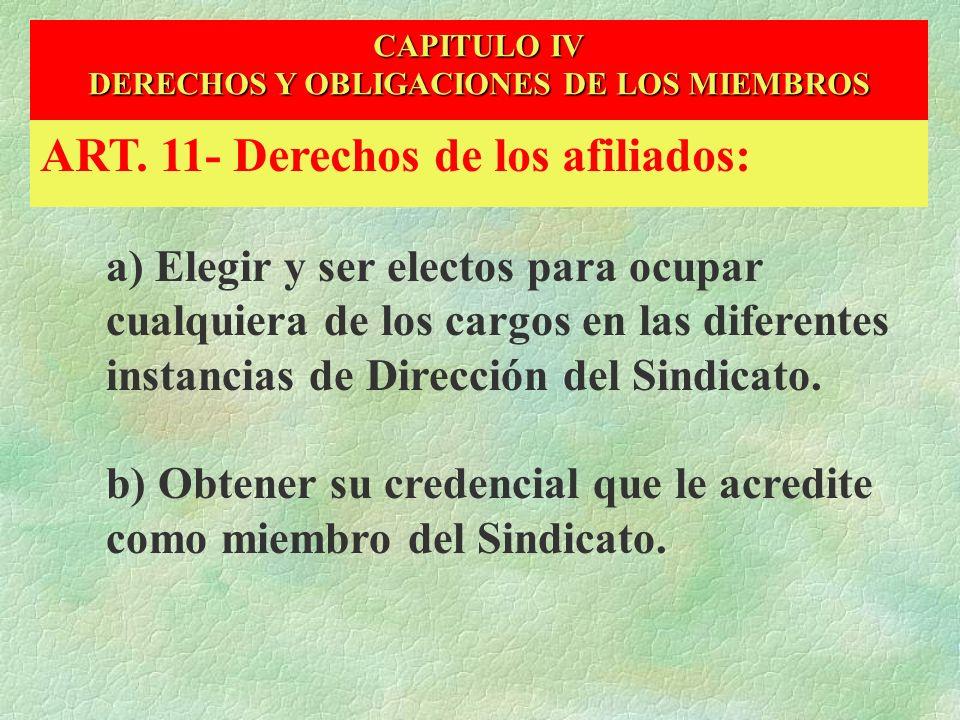 DERECHOS Y OBLIGACIONES DE LOS MIEMBROS