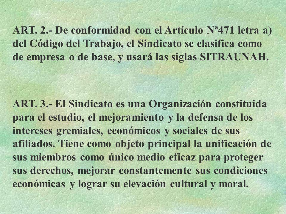 ART. 2.- De conformidad con el Artículo Nª471 letra a) del Código del Trabajo, el Sindicato se clasifica como de empresa o de base, y usará las siglas SITRAUNAH.