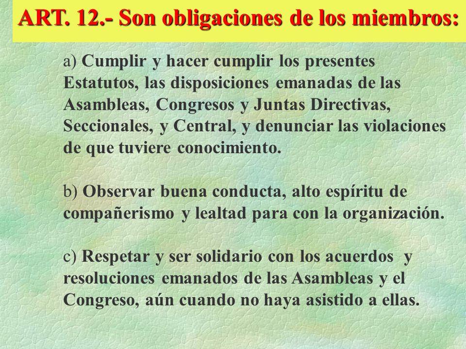 ART. 12.- Son obligaciones de los miembros: