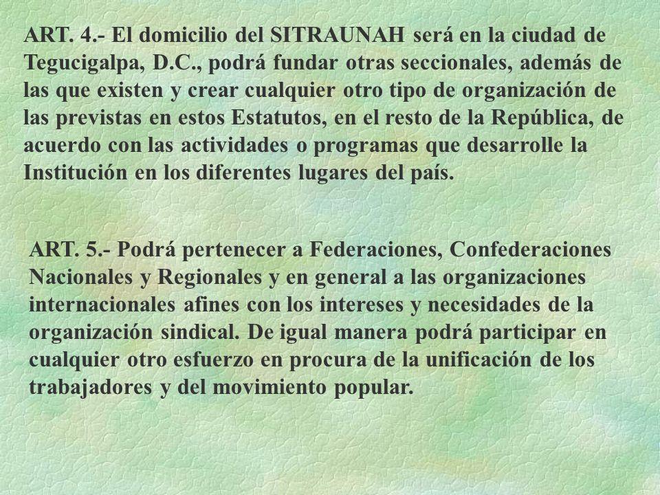 ART. 4.- El domicilio del SITRAUNAH será en la ciudad de Tegucigalpa, D.C., podrá fundar otras seccionales, además de