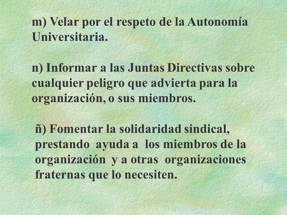 m) Velar por el respeto de la Autonomía Universitaria.