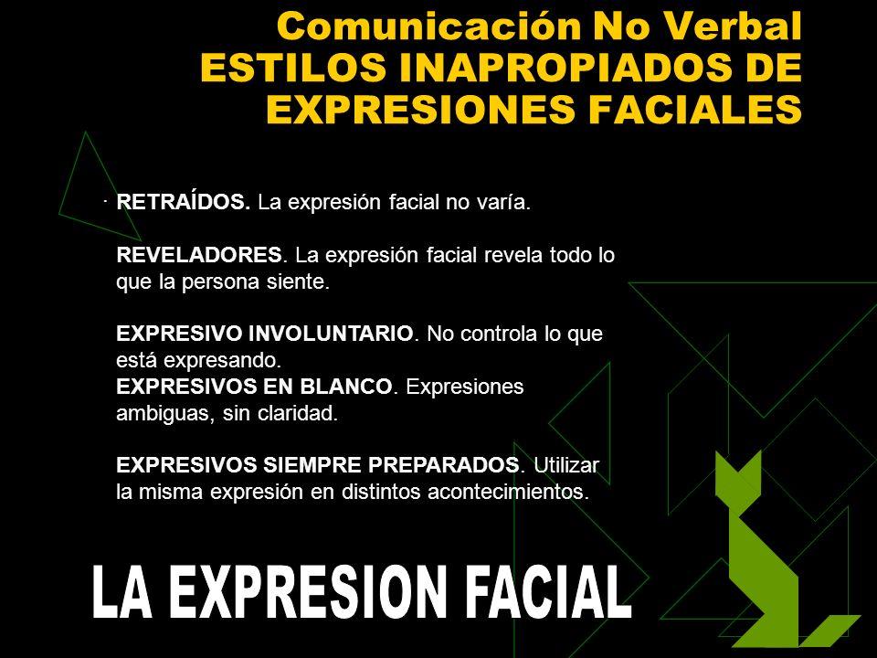 Comunicación No Verbal ESTILOS INAPROPIADOS DE EXPRESIONES FACIALES