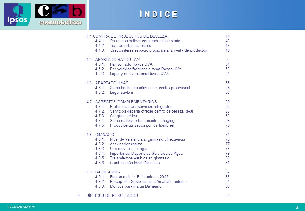 Í N D I C E 4.4.COMPRA DE PRODUCTOS DE BELLEZA 44