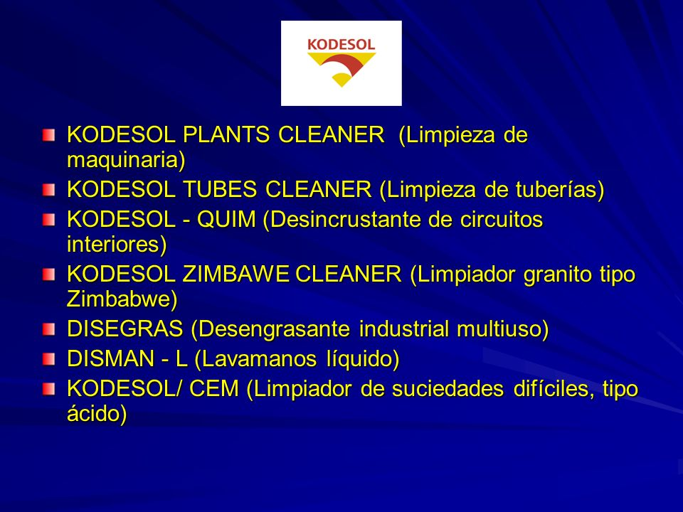KODESOL PLANTS CLEANER (Limpieza de maquinaria)