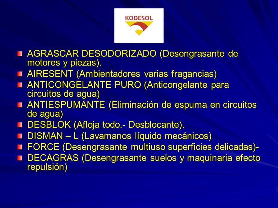 AGRASCAR DESODORIZADO (Desengrasante de motores y piezas).