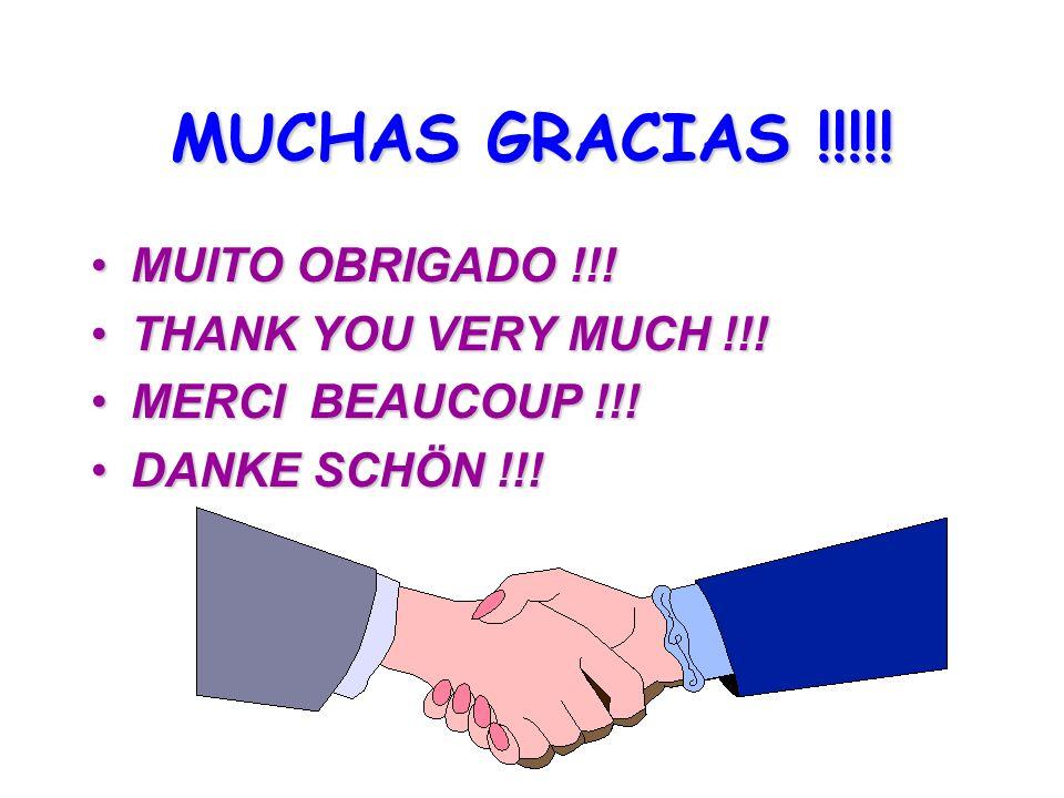 MUCHAS GRACIAS !!!!! MUITO OBRIGADO !!! THANK YOU VERY MUCH !!!