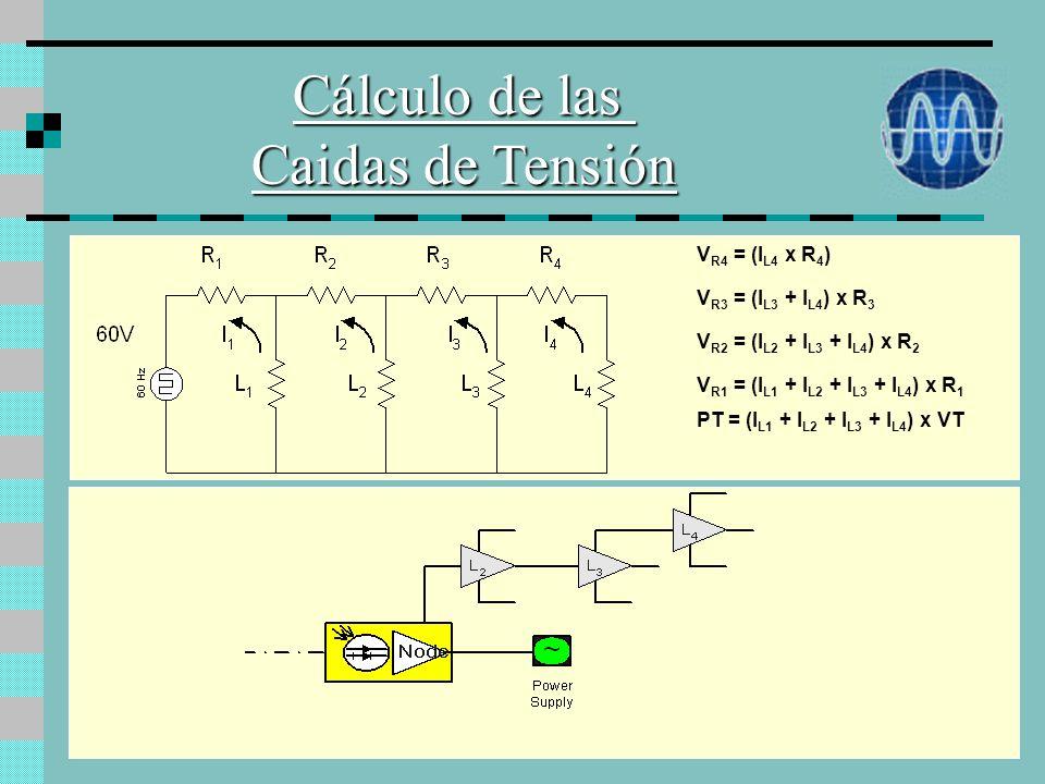 Cálculo de las Caidas de Tensión VR4 = (IL4 x R4)
