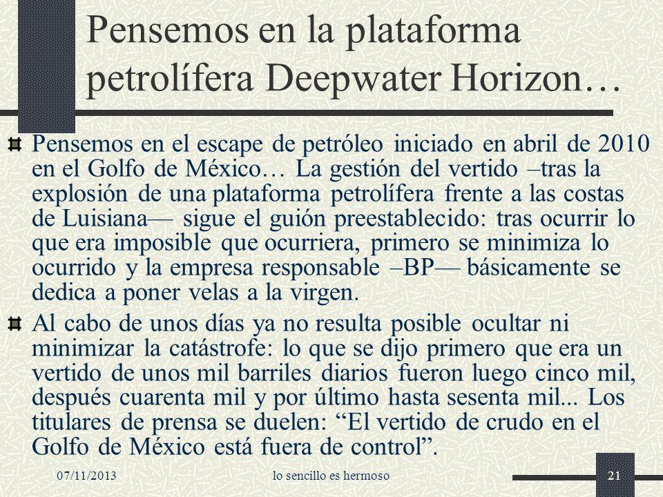 Pensemos en la plataforma petrolífera Deepwater Horizon…