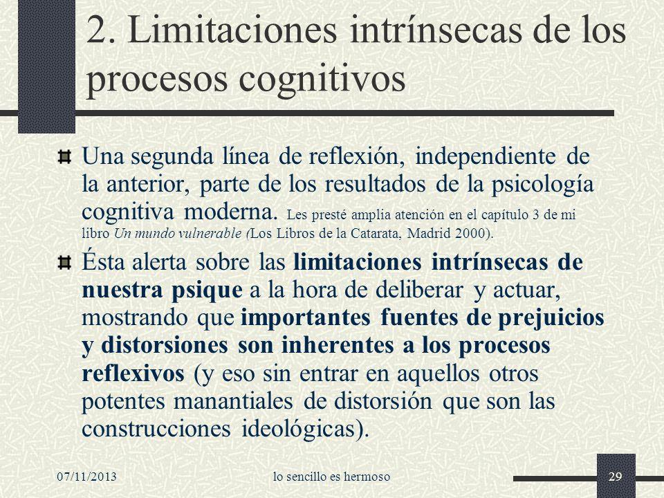 2. Limitaciones intrínsecas de los procesos cognitivos