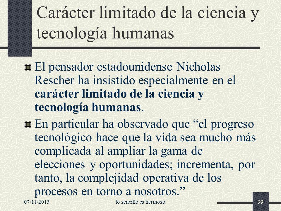 Carácter limitado de la ciencia y tecnología humanas