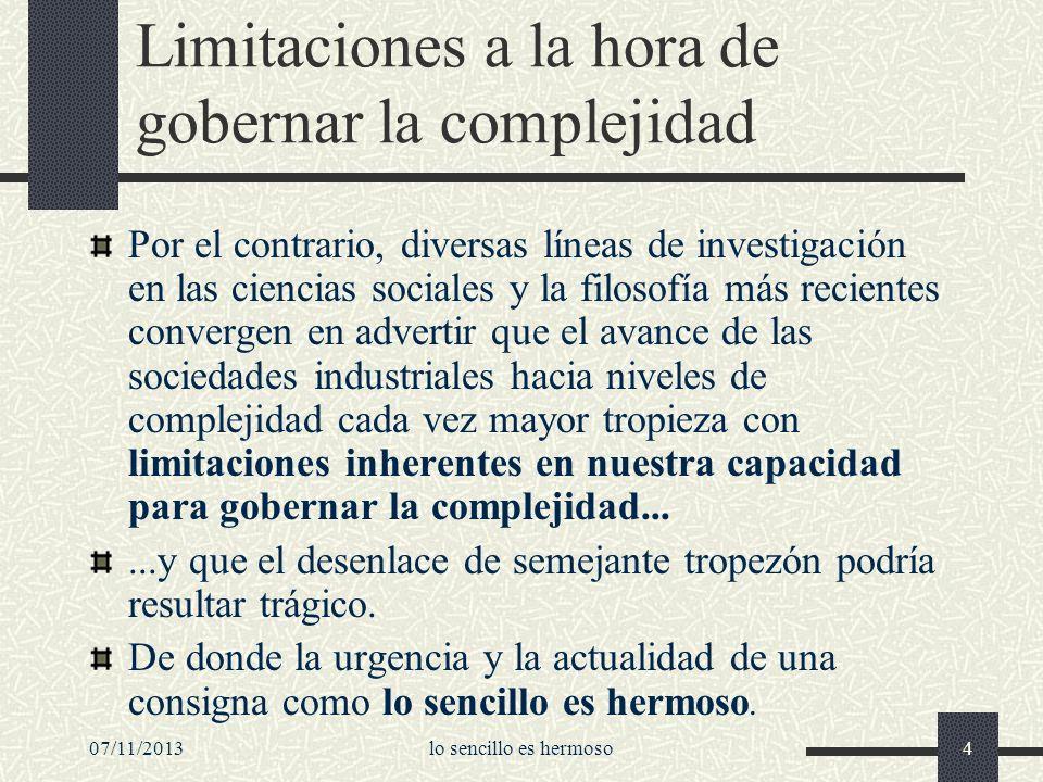 Limitaciones a la hora de gobernar la complejidad