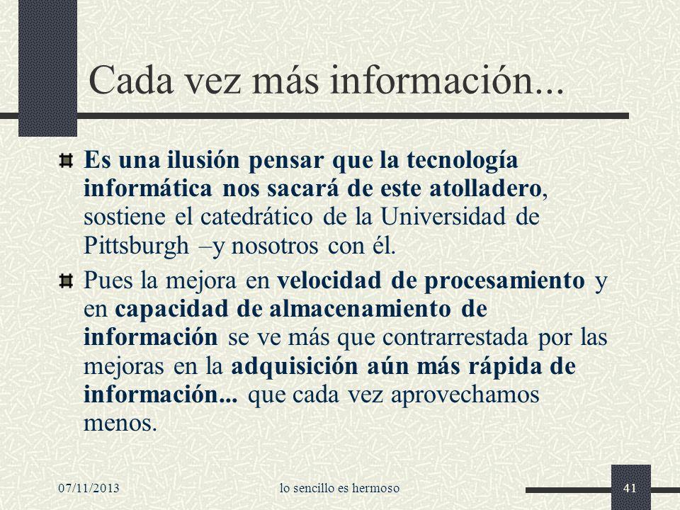 Cada vez más información...