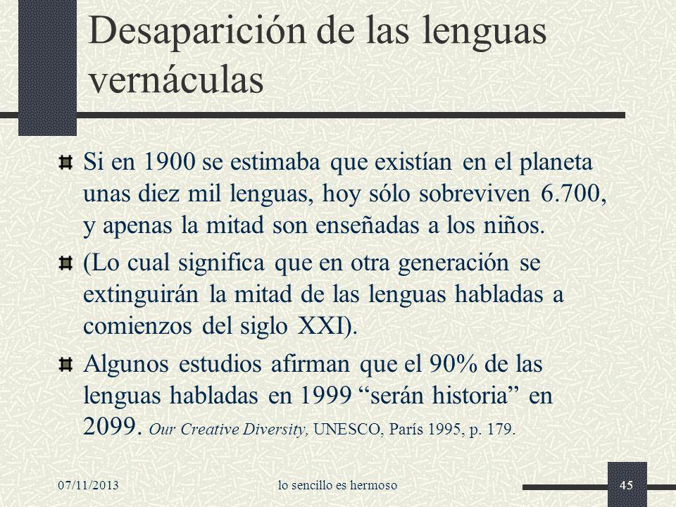 Desaparición de las lenguas vernáculas