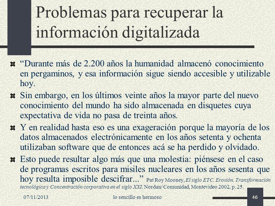 Problemas para recuperar la información digitalizada