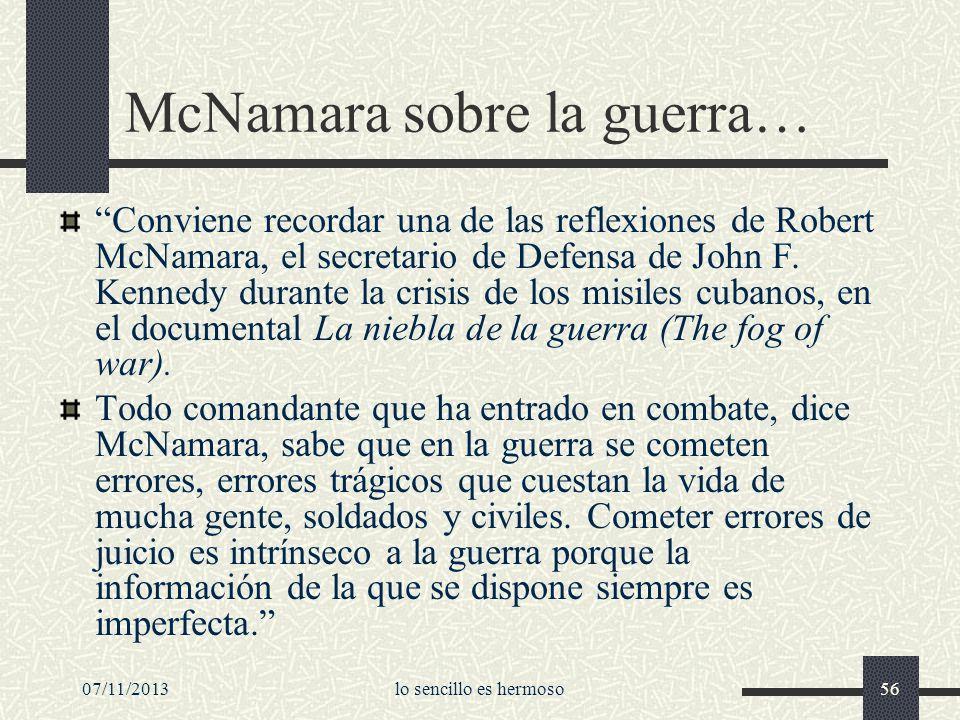 McNamara sobre la guerra…
