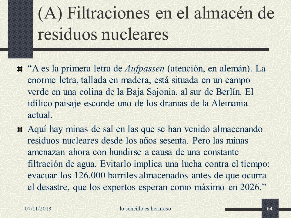 (A) Filtraciones en el almacén de residuos nucleares