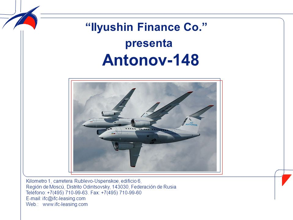 Antonov-148 Ilyushin Finance Co. presenta