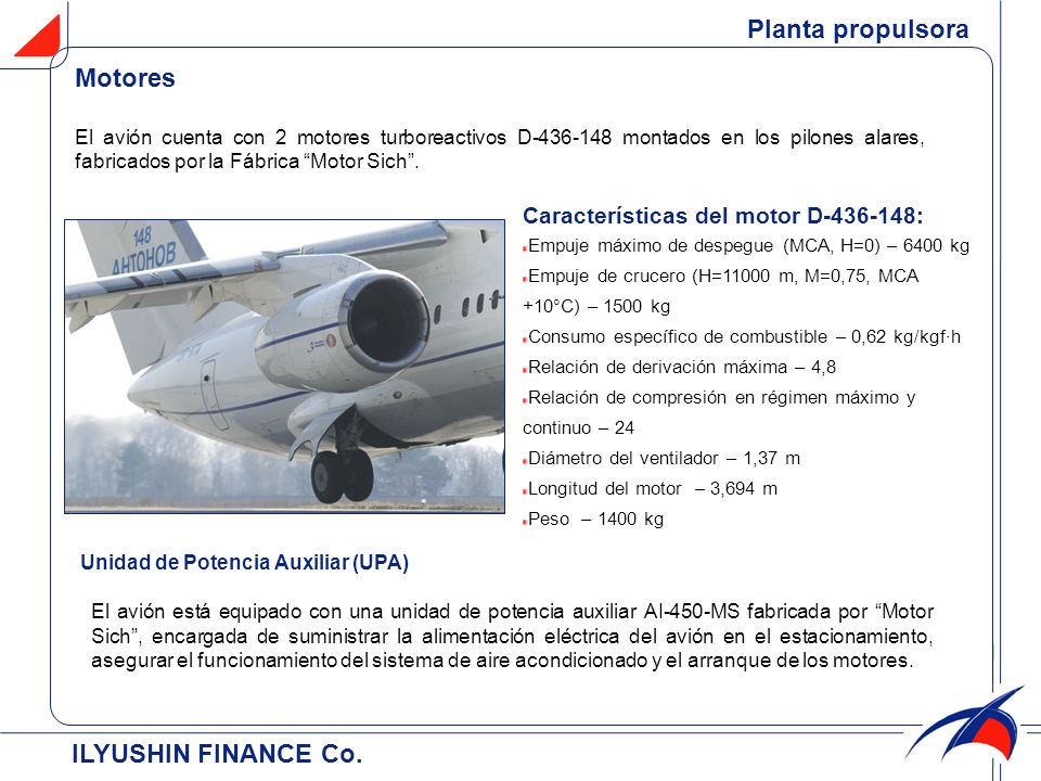 Planta propulsora Motores ILYUSHIN FINANCE Co.