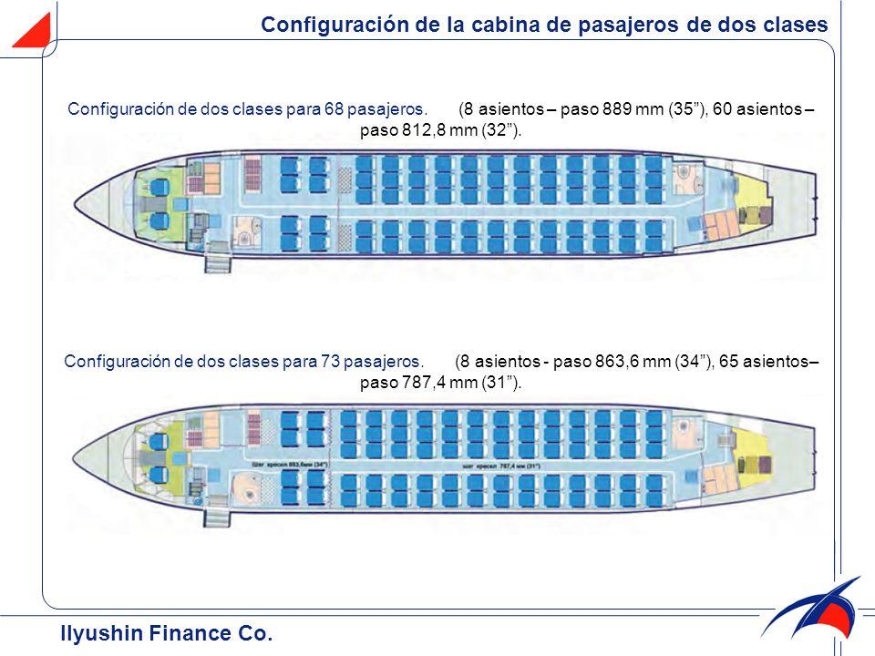 Configuración de la cabina de pasajeros de dos clases