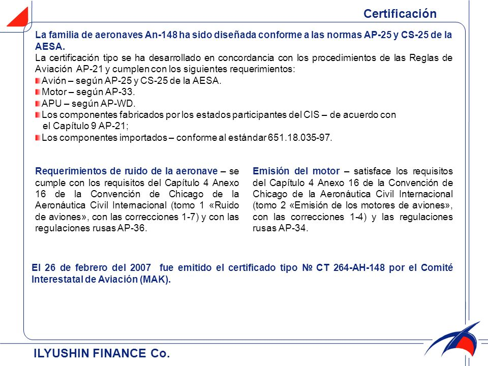 Certificación ILYUSHIN FINANCE Co.