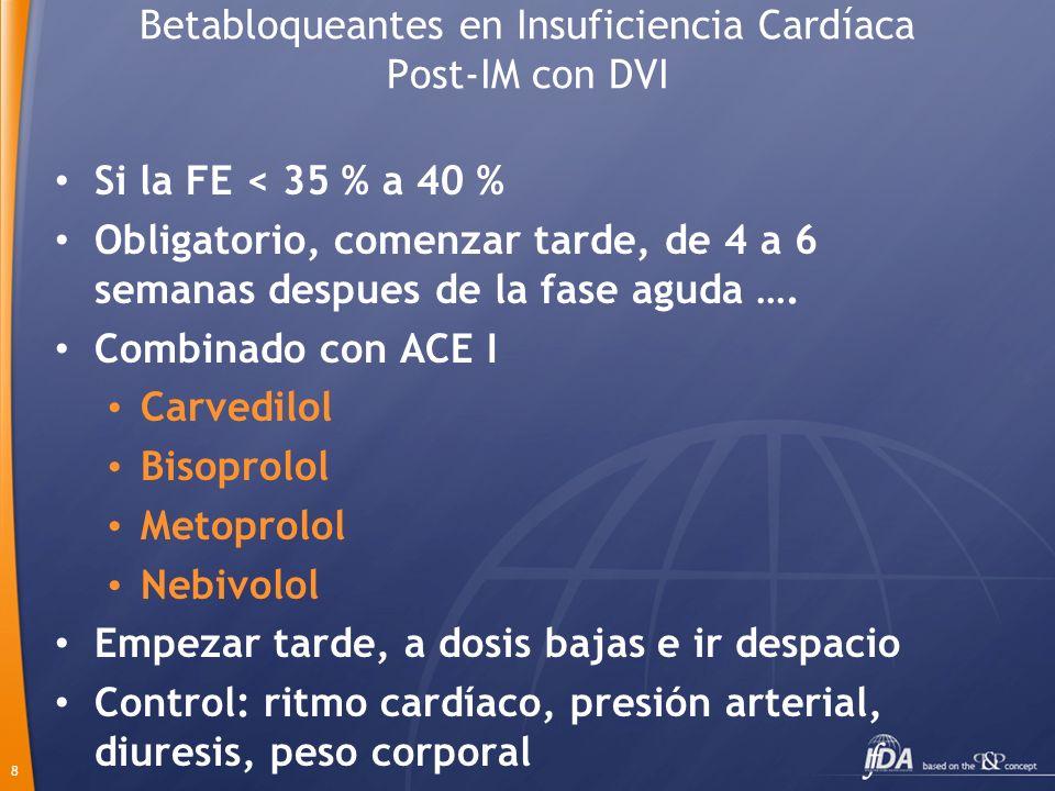 Betabloqueantes en Insuficiencia Cardíaca Post-IM con DVI