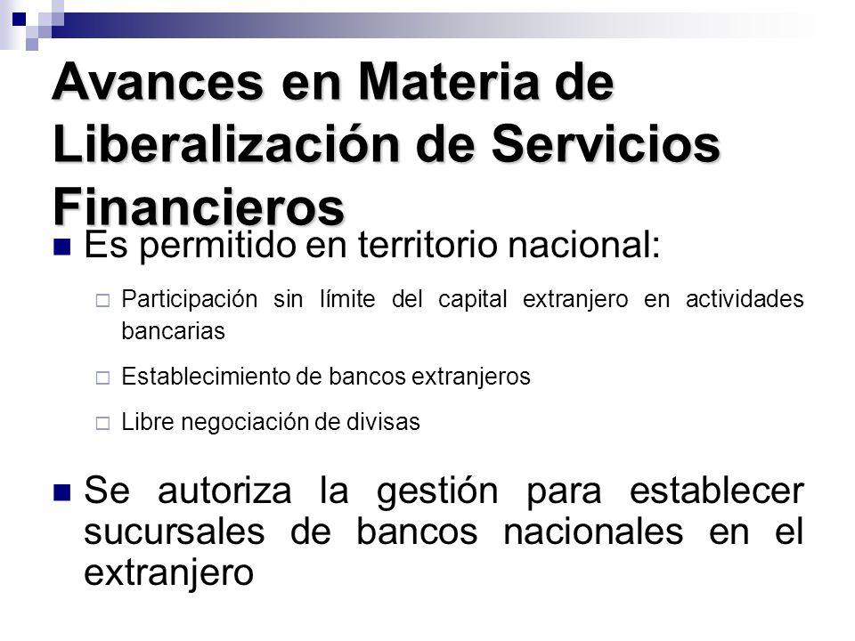Avances en Materia de Liberalización de Servicios Financieros