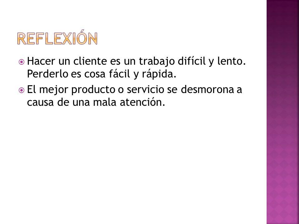 REFLEXIÓN Hacer un cliente es un trabajo difícil y lento. Perderlo es cosa fácil y rápida.