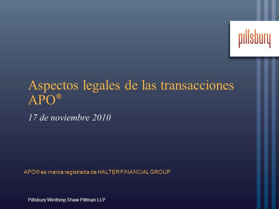 Aspectos legales de las transacciones APO