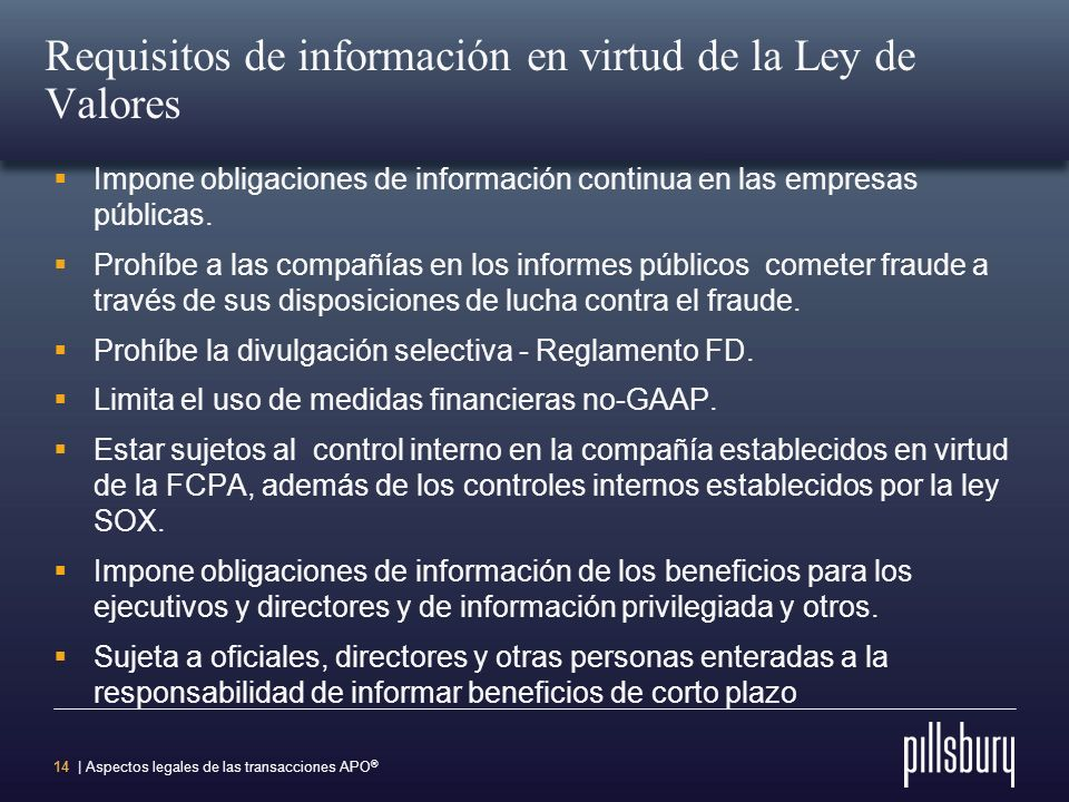 Requisitos de información en virtud de la Ley de Valores