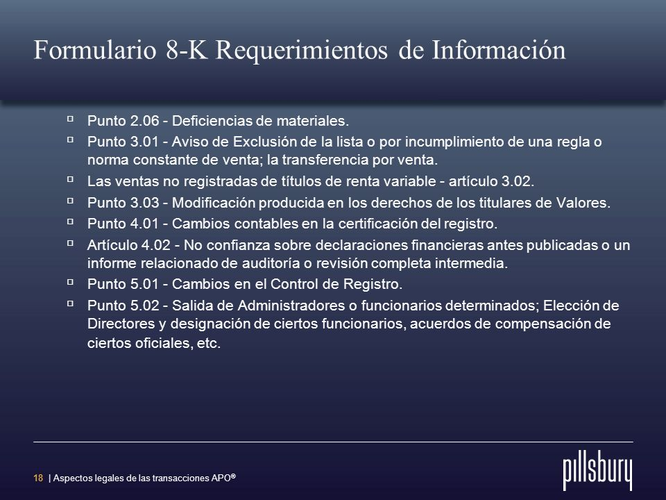 Formulario 8-K Requerimientos de Información