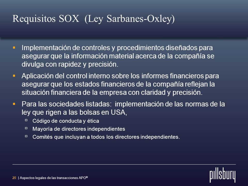 Requisitos SOX (Ley Sarbanes-Oxley)