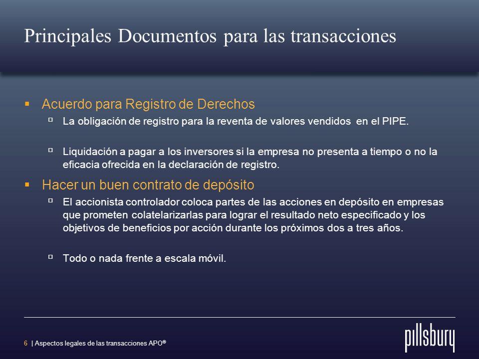 Principales Documentos para las transacciones