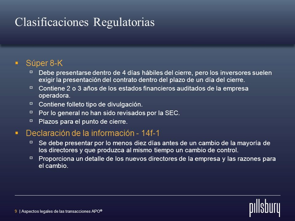 Clasificaciones Regulatorias
