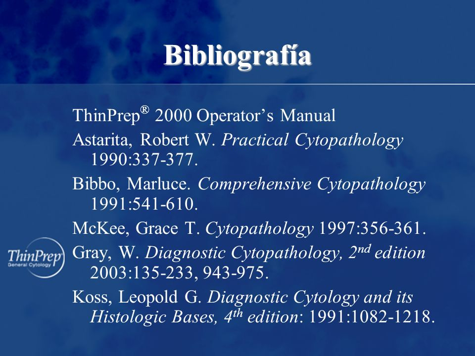 Bibliografía ThinPrep® 2000 Operator's Manual