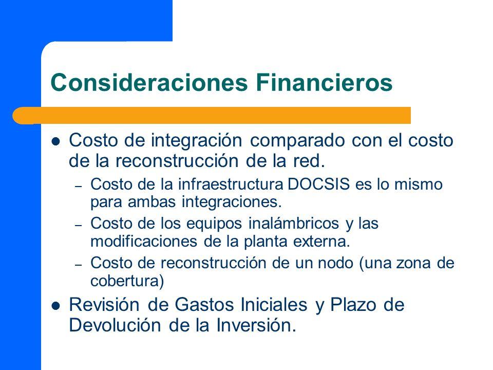 Consideraciones Financieros