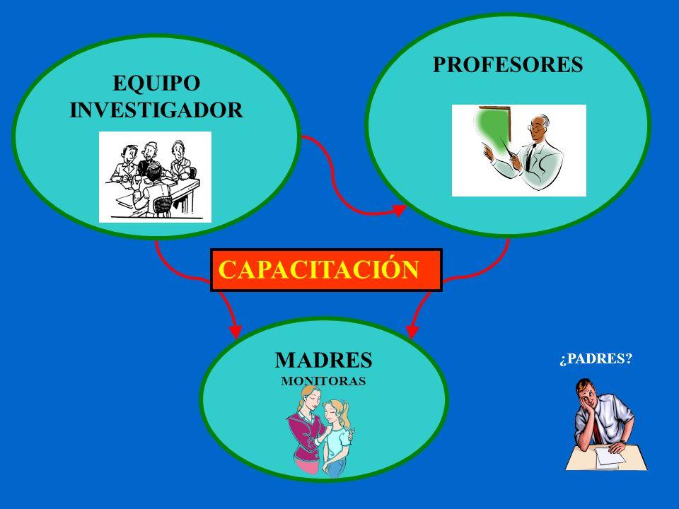 PROFESORES EQUIPO INVESTIGADOR CAPACITACIÓN MADRES MONITORAS ¿PADRES
