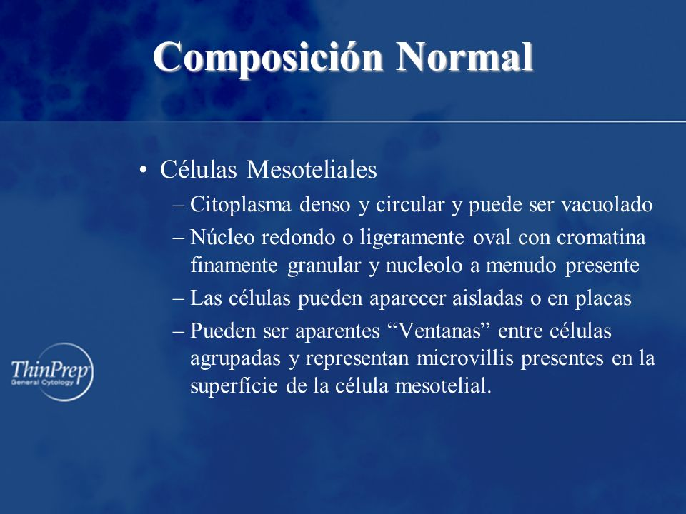 Composición Normal Células Mesoteliales